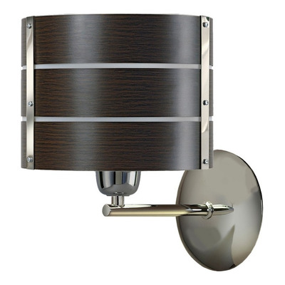Aplique Pared Wengue Acero Cromo Moderno Deco Apto Led E-27