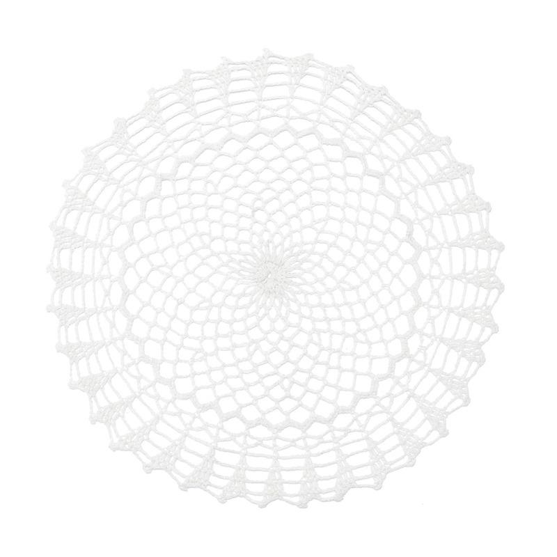 Lugar Americano Redondo Em Croche Engomado De Algodão Geometric 38X0,5Cm