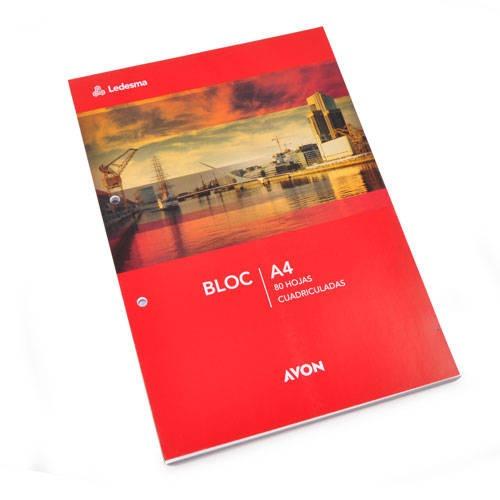 BLOCK DE HOJAS A4 AVON LEDESMA x 80 HOJAS (RAYADAS, CUADR...