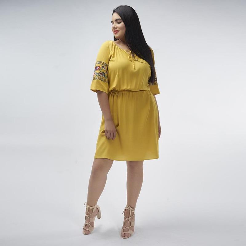 Vestido Amarillo Con Detalle Bordado 017333
