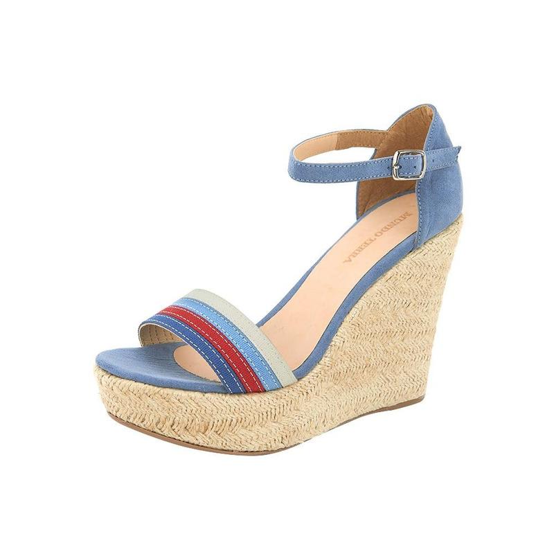 Sandalia Azul Con Pulsera Y Plataforma De Yute 020344