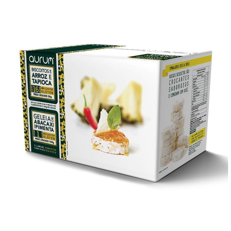 Biscoito Arroz e Tapioca c/ Geleia Abacaxi- 30g/100g Aurum