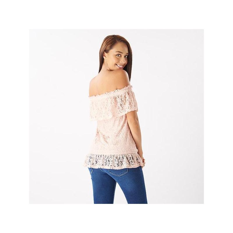 Blusa rosa encaje manga corta 019083