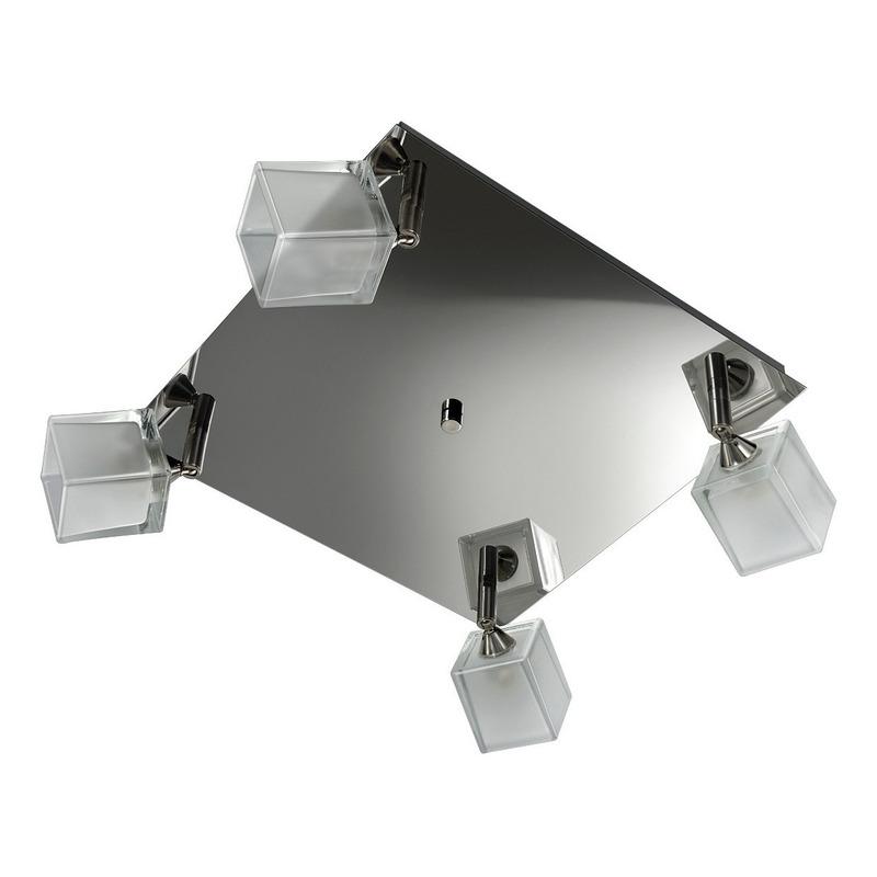 Plafon 4 Luces Cromo Moderno Con Led G9 Inoxidable Vidrio