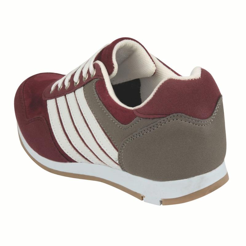 Sneakers vino franjas grises blancas 015721