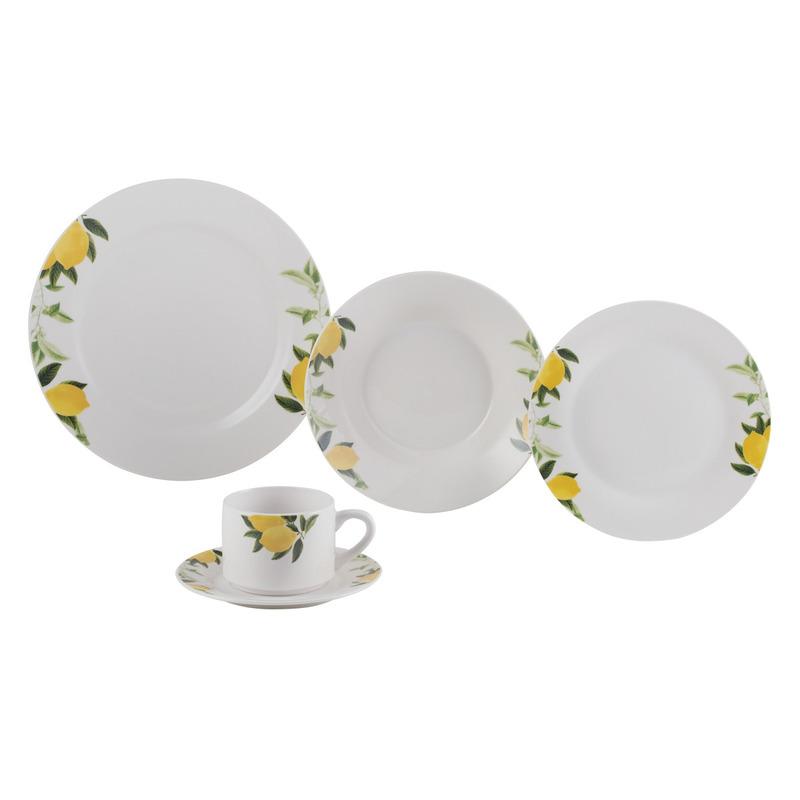 Jogo de Jantar 20 peças  em porcelana Lemons - Lyor 4102141