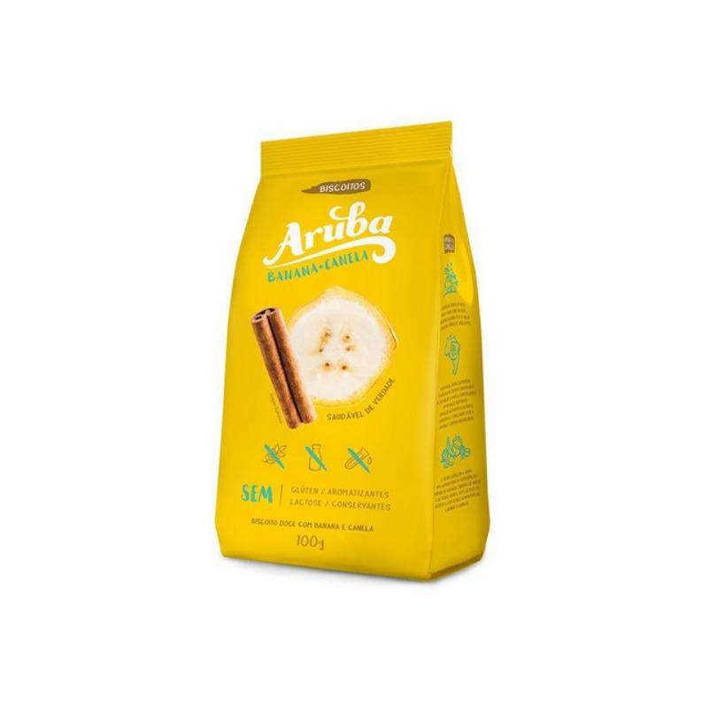 Biscoito sem Gluten de Banana com Canela - 100g - Aruba