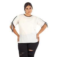 Blusa manga larga blanca con negro 014454P