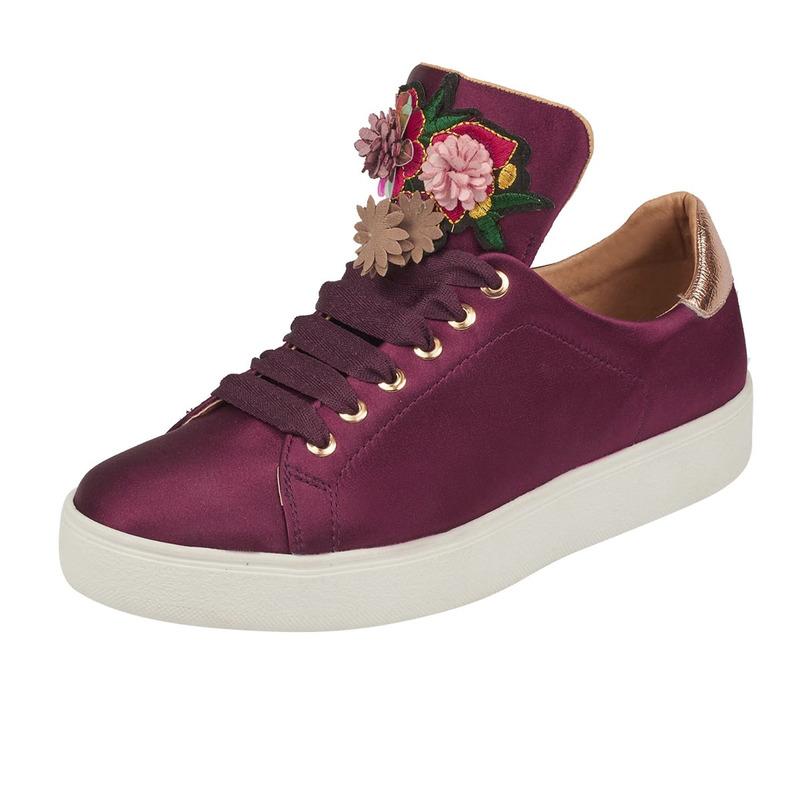 Sneakers terciopelo vino bordados 015844