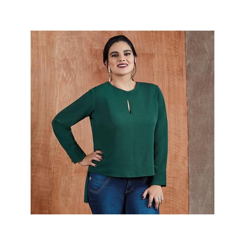 Blusa verde manga larga 014411