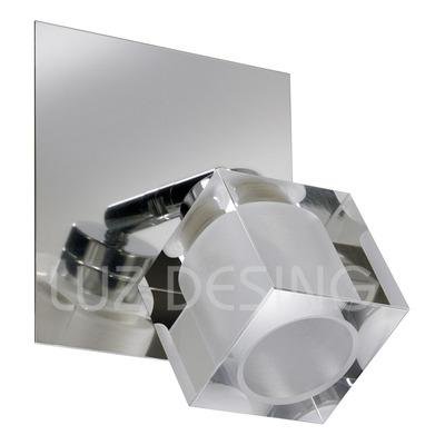 Aplique 1 Luz Ice Vidrio Cromo Espejo Movil Apto Led G9