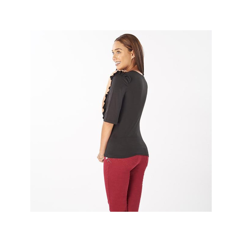 Blusa negra estampada manga larga 014403