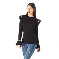 Blusa negra lazos blancos manga larga 014334