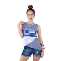 Blusa blanca y azul a rayas 015131