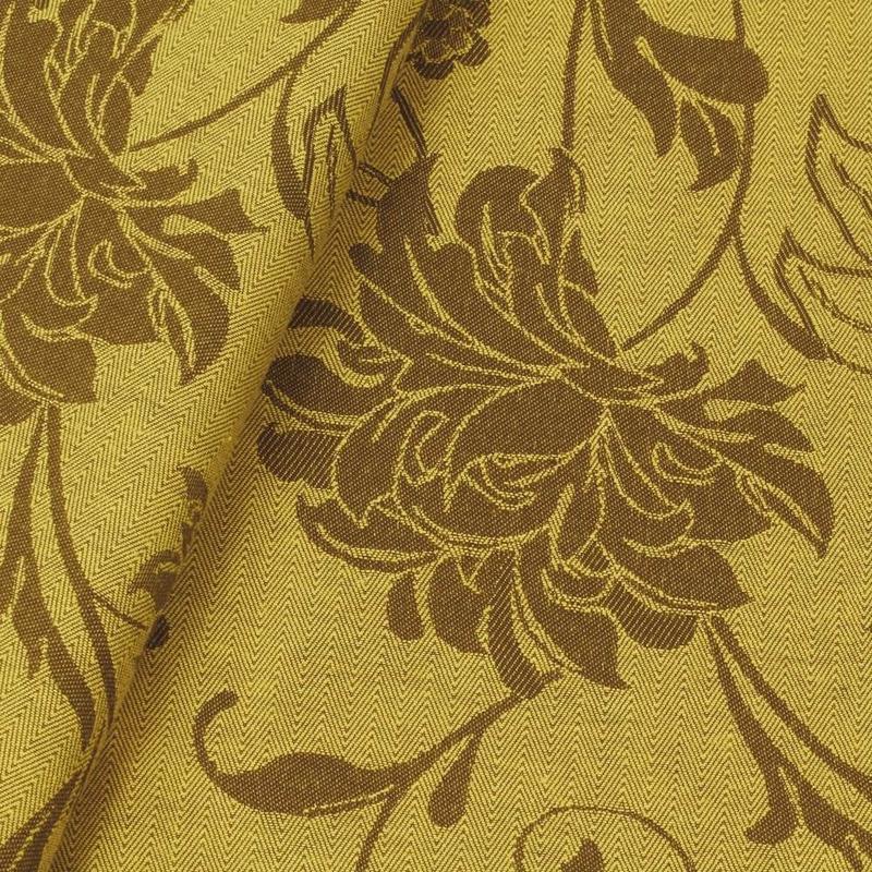 Tecido jacquard floral - amarelo/marrom - Impermeável - Coleção Panamá