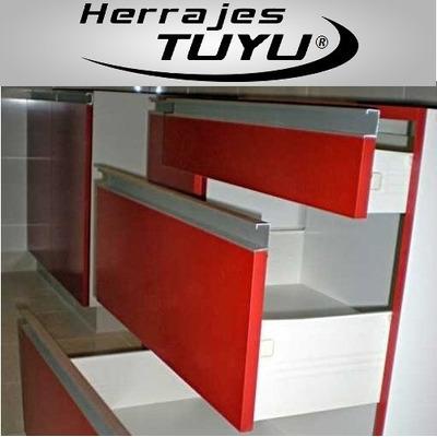 Perfil tirador c presion aluminio manija mueble madera for Perfiles aluminio para muebles