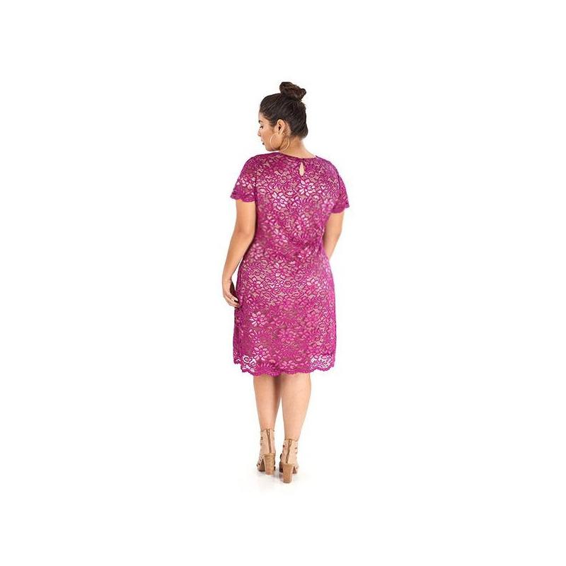 Vestido corto encaje fiusha 019126