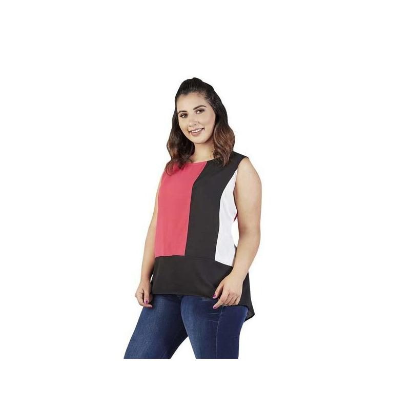 Blusa muticolor estampada manga corta  015387