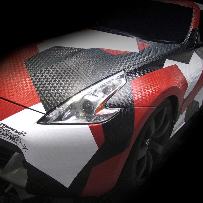 Adesivo para envelopamento automotivo pixel red larg. 1,38 m