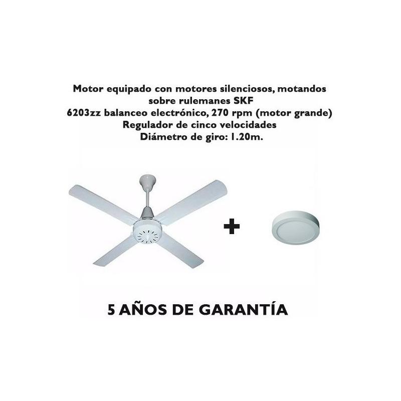 Ventilador De Techo Blanco 5 Velocidades Garantía + Led Tg