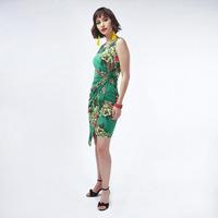 Vestido Verde Con Estampado Floral 019476