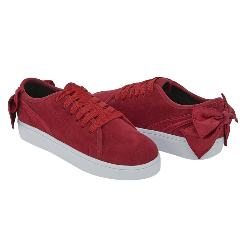 Sneakers Rojo Con Moño 020491