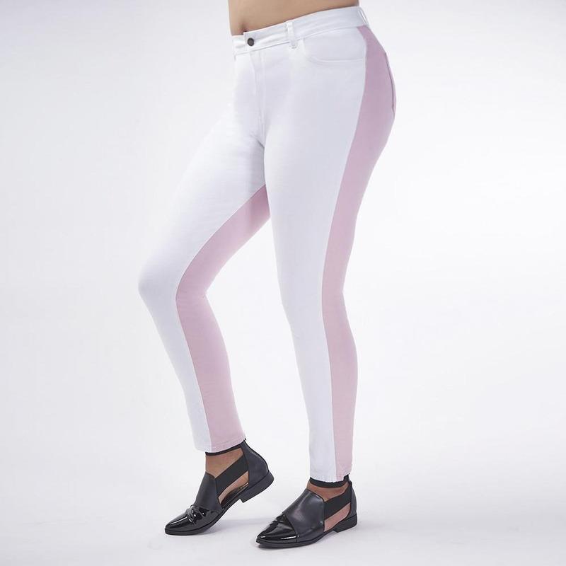 Pantalón Blanco Con Rosa 019408