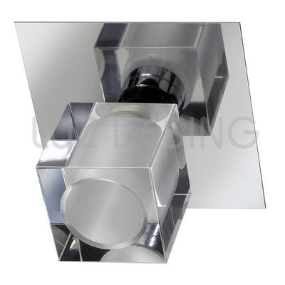 Aplique Plafon 1 Luz Ice Vidrio Cromo Espejo Apto Led G9
