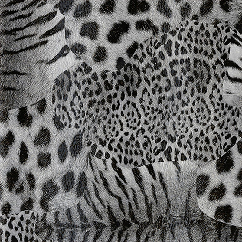 Tecido corino animal print preto e branco Larg. 1,40 m