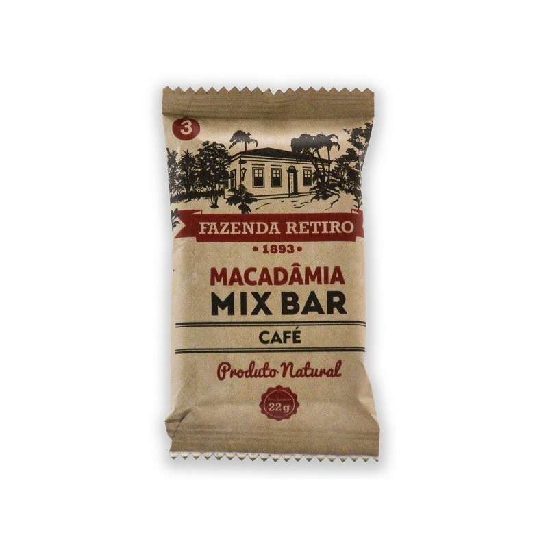 Barra de Macadamia Mix Bar com Cafe 22g - Fazenda Retiro