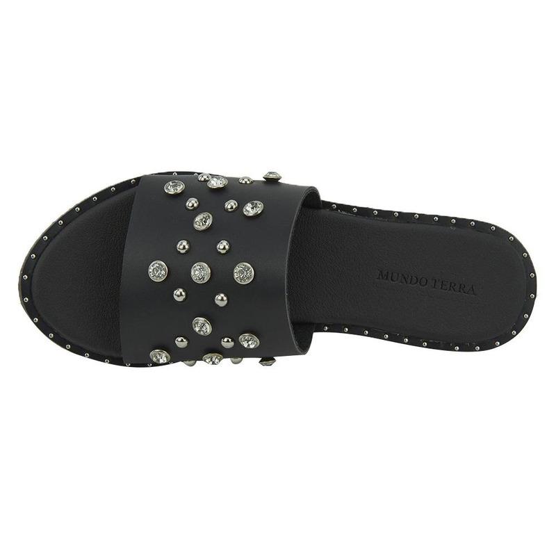 Sandalia De Piso Negro Con Pedreria 020917