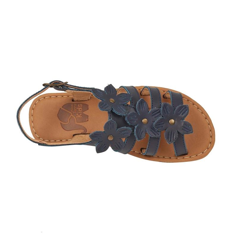 Sandalia azul flores de tela 018726