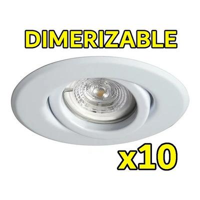 Pack X 10 Unidades Spot Blanco Dicro Led 7w Dimerizable