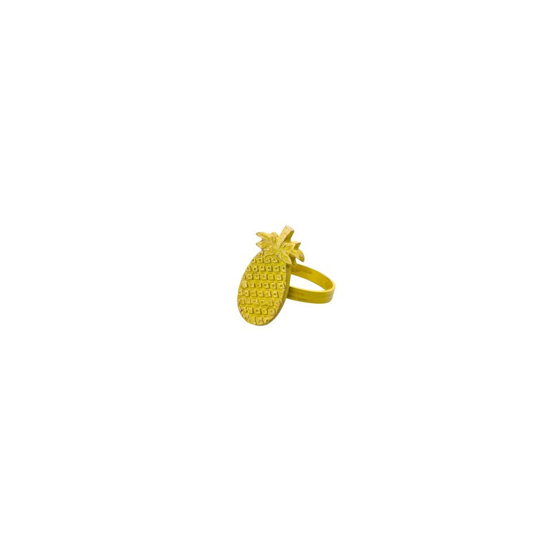 Jogo 04 Anéis para Guardanapo Abacaxi Amarelo