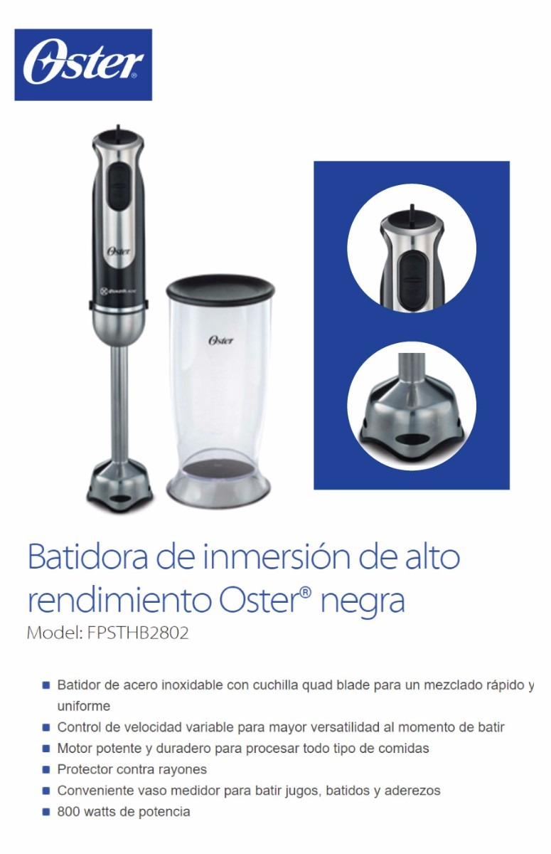 Minipimer Mixer Oster Batidor Inmersión Negra 2802