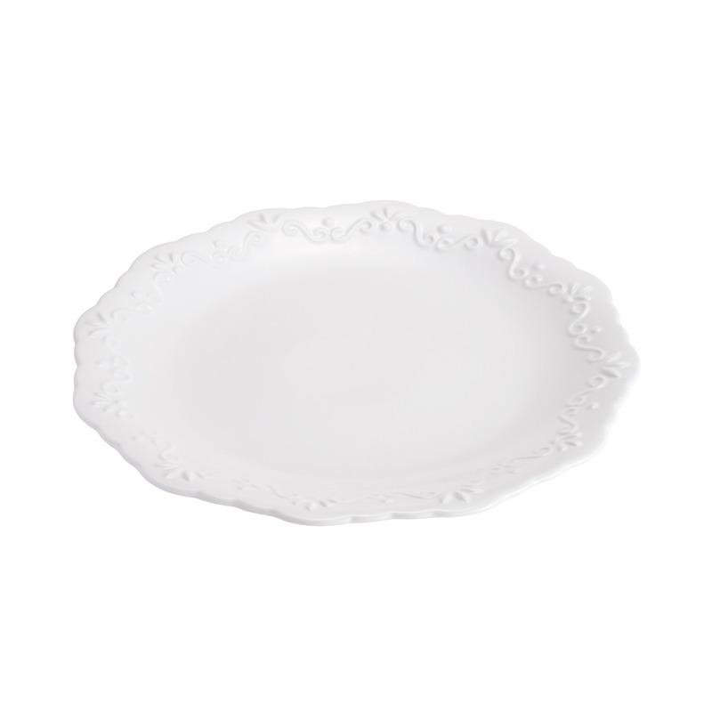 Jogo 6 Pratos Rasos em Porcelana Alto Relevo 27 Cm - Wolff 31025087