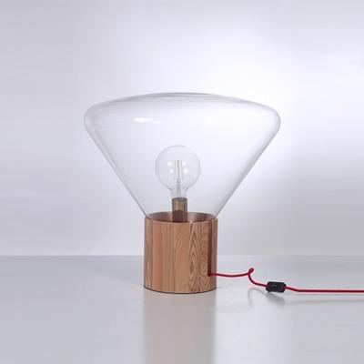Lámpara De Mesa Ghost Madera Vintage Deco Apto Led Led Gmg