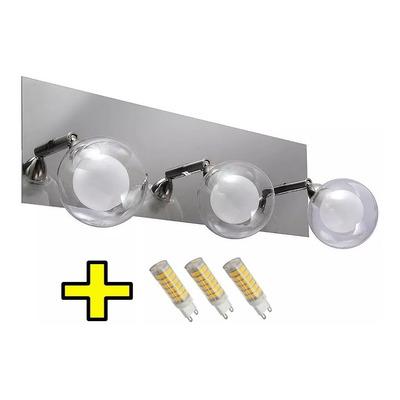 Aplique 3 Luces Baño Doble Vidrio Acero Cromo Con Led A653