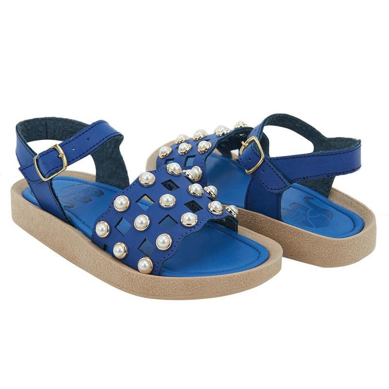 Sandalia De Piso Azul Con Perlas 014642