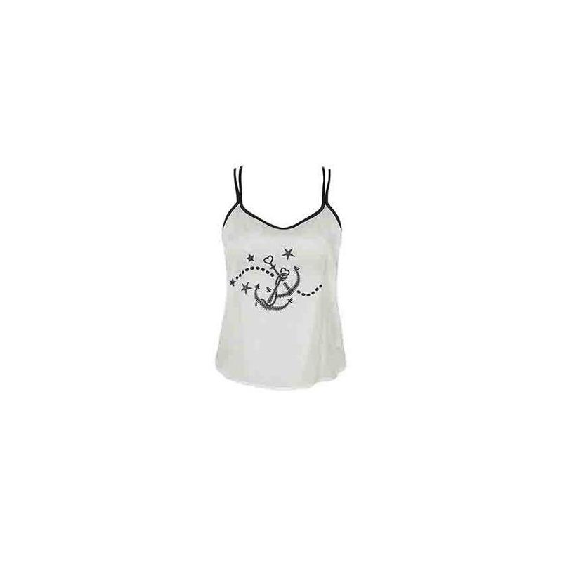 Blusa blanca estampada con tirantes 014099