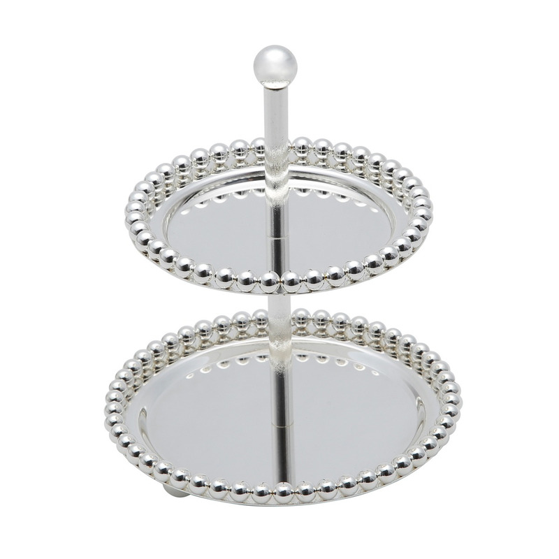 Porta Doces 2 Andares De Zamac Balls Silver Plated 13,3X13,3X17,5Cm