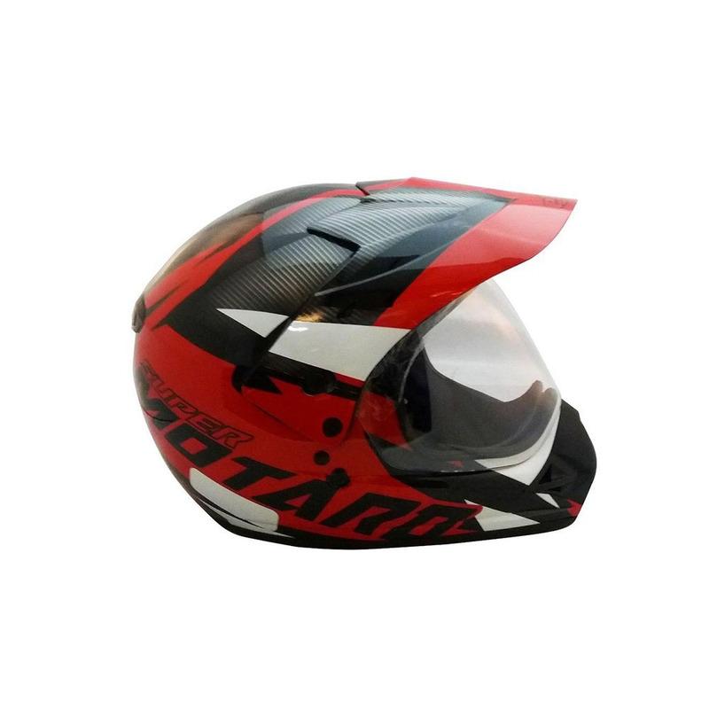 Capacete Ebf Super Motard Iron Preto e Vermelho