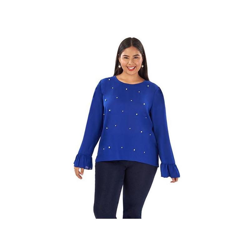 Blusa azul manga larga con perlas  014355P