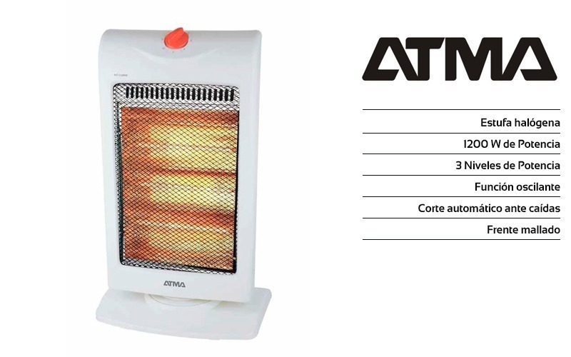 Estufa Electrica Halogena Atma Ch1216