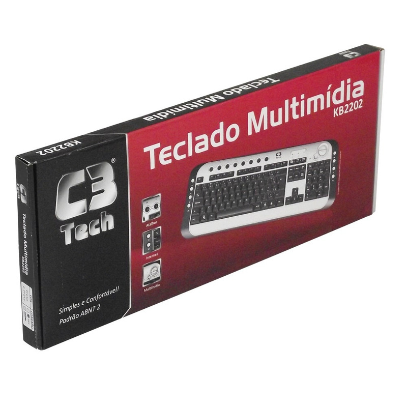 TECLADO MULTIMIDIA USB SLIM C3TECH KB2202-2BK PRETO