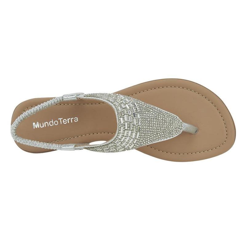 Sandalia De Piso Plata Con Pedreria 020996