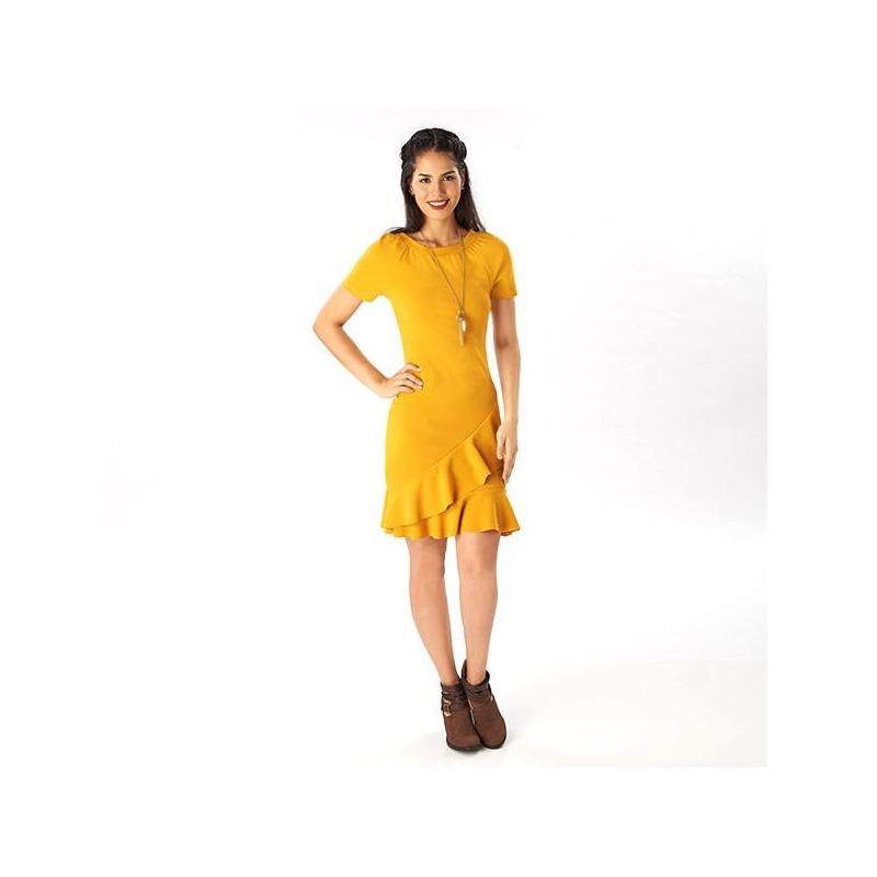 Vestido corto amarillo olanes  019233