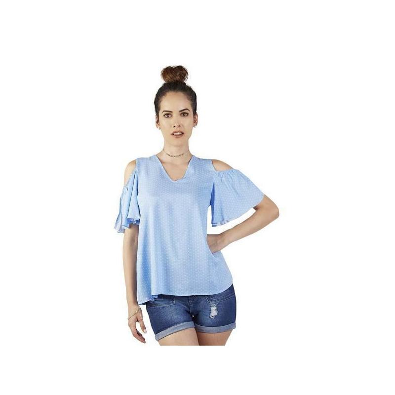 Blusa azul hombro descubierto 015612