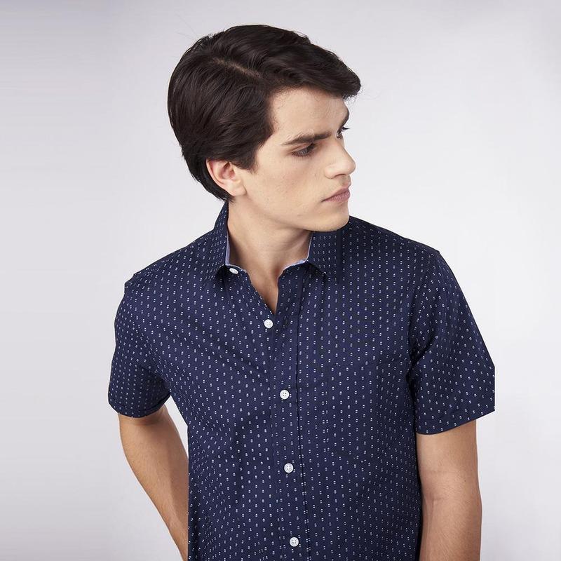 Camisa Azul Marino Con Puntos 019284