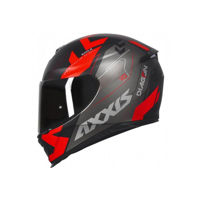 Capacete Axxis Eagle Diagon Preto Cinza e Vermelho Com Viseira Fumê